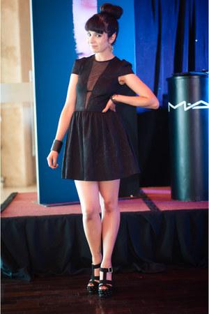 black Topshop dress - black Americanino sandals - black MAC bracelet