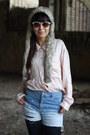 Vintage-hat-bruno-rossi-shoes-shiny-leggings-destroyed-diy-shorts