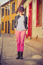 black boots - black lipstick jacket - white shirt - brown sunglasses - hot pink