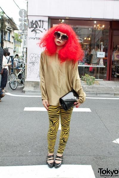 leggings - square metal sunglasses