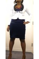 white Club Monaco jacket - blue Forever 21 skirt - blue Forever 21 shirt - gray