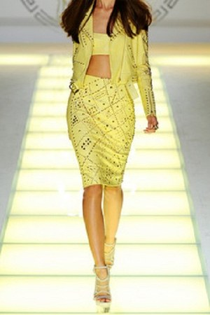 light yellow versace jacket - light yellow versace skirt