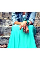 turquoise blue maxi skirt skirt - light blue jean shirt shirt