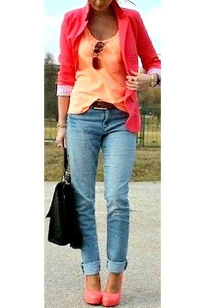 salmon blazer - sky blue jeans - black bag - light orange top - peach heels