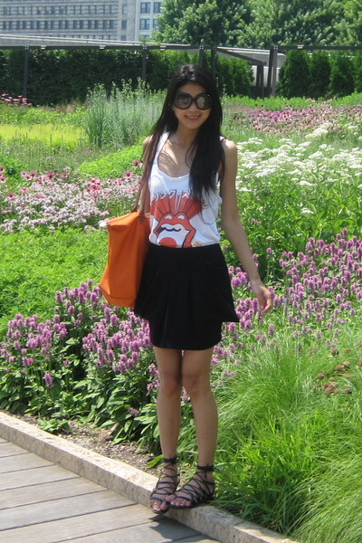 rolling stones top - Nordstrom skirt - Crocs shoes - longchamp purse