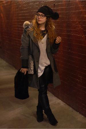 black Urban Outfitters hat - gray rag & bone coat - white Mossimo sweater