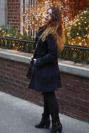 black Old Navy coat - ivory polka dot Forever 21 sweater