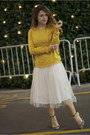 Ivory-worn-as-a-skirt-older-dress-gold-the-limited-sweater-ivory-zara-heels