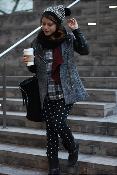 black tweed H&M coat - black Zara bag - black Worthington pants