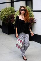 black naked zebra blouse - hot pink snakeskin thrifted bag