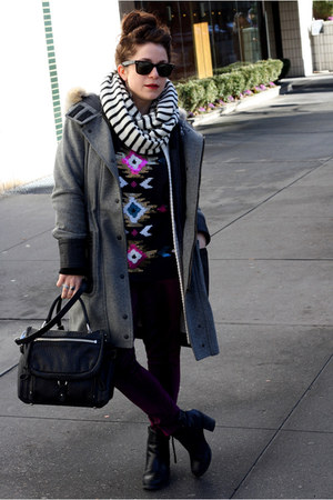 black DKNY purse - gray rag & bone coat - black Rock & Republic top