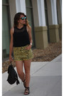 Black-fashion-star-shirt-yellow-urban-outfitters-shorts-blue-aldo-sunglasses