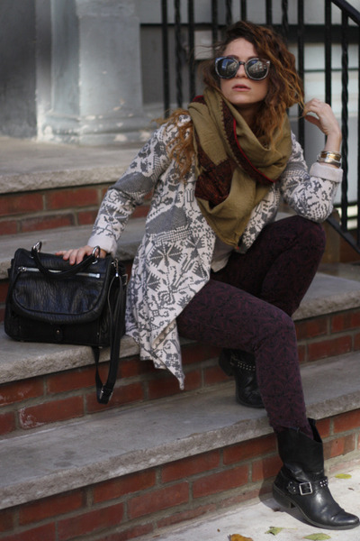 army green gifted scarf - black DKNY bag - crimson Mossimo pants