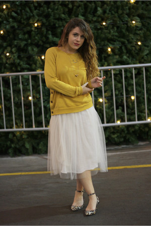 ivory worn as a skirt older dress - gold The Limited sweater - ivory Zara heels