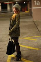 black Forever 21 hat - army green Forever 21 jacket - black Zara bag
