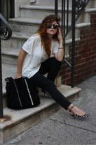 black Zara bag - black Nasty Gal glasses - off white Zara heels