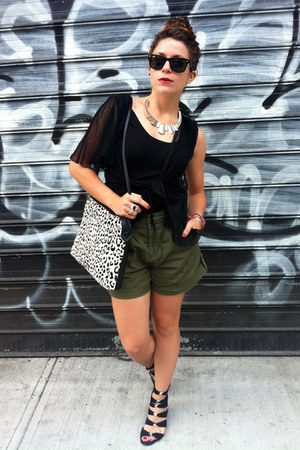 black Steve Madden shoes - off white leopard Zara bag