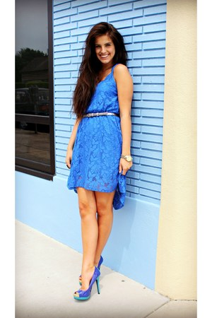 blue lace Candies dress - tri-color Mossimo heels