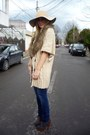 Gray-asos-boots-blue-zara-jeans-camel-meli-melo-hat-camel-sfera-cardigan