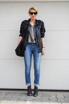 Zara jeans - calvin klein boots - Diesel jacket - Zara shirt - Zara bag