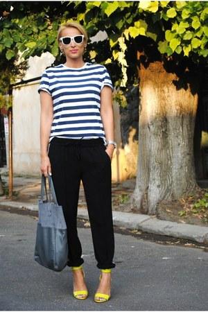 H&M heels - Zara pants - Topshop t-shirt