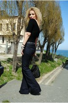 navy Zara jeans - black Marc Jacobs bag - black H&M bodysuit