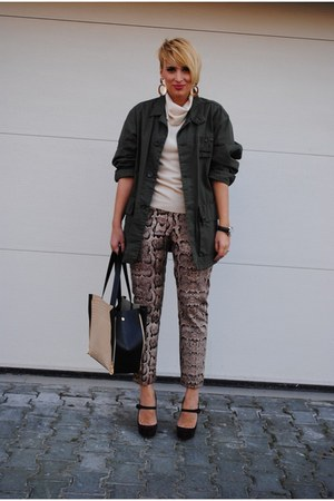 H&amp;M pants - Diesel jacket - romwe bag - Christian Louboutin heels
