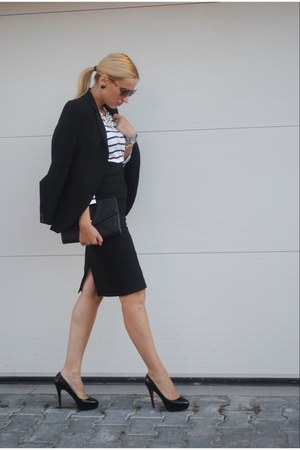 Zara blazer - Christian Louboutin shoes - Zara skirt - H&M blouse