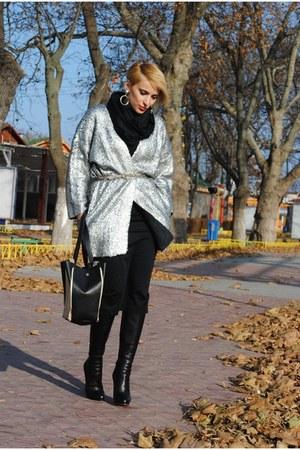 H&M cardigan - Christian Louboutin boots - romwe bag