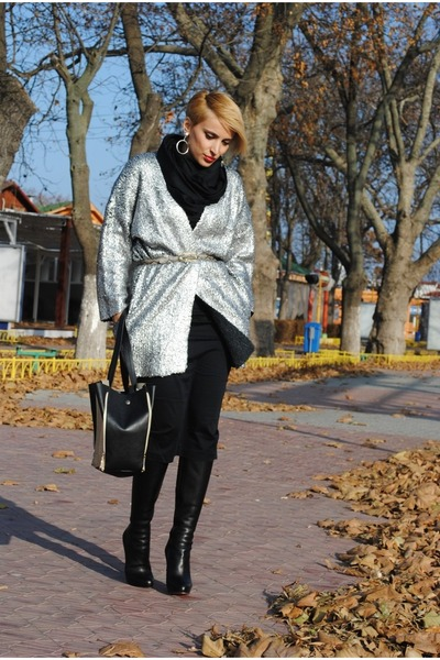 H&amp;M cardigan - Christian Louboutin boots - romwe bag