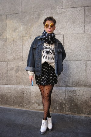 eyes grey okeysi sweatshirt - Jeffrey Campbell boots - vintage jacket