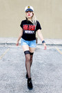 Black-demonia-shoes-white-hat-sky-blue-shorts-black-socks-black-t-shirt