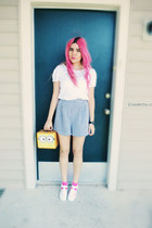 white blouse - navy shorts - hot pink socks - white Juju Jellies sandals
