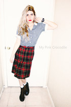 black Dr Martens boots - ruby red tartan shirt - black blouse