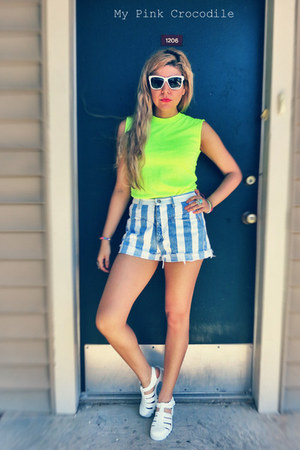 white sunglasses - sky blue 100 cotton GoodFellows shorts - chartreuse t-shirt