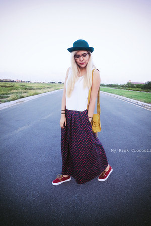 teal hat - ruby red Vans shoes - mustard purse - white blouse - navy skirt