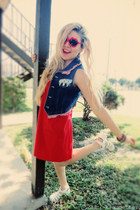 navy vest - red thrifted vintage dress - red sunglasses