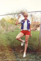 navy 100 cotton Watch LA vest - ruby red shorts - red sunglasses - white t-shirt