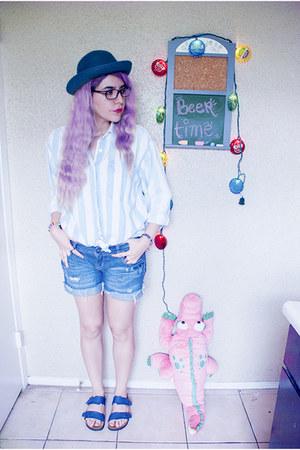 navy shorts - navy Birkenstock sandals - light blue vintage blouse