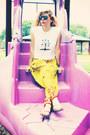 Black-sunglasses-white-t-shirt-chartreuse-pants