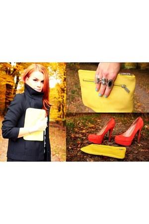 black Zara coat - light yellow COS bag - carrot orange Topshop heels