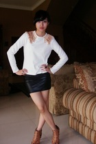 white diy t-shirt - black latex skirt - beige