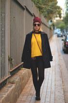 Stradivarius shirt - alpe boots - Primark coat - H&M hat