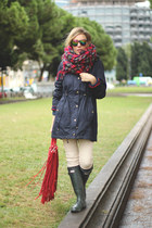 riverside coat - Hunter boots - Pull & Bear scarf - SuitBlanco bag