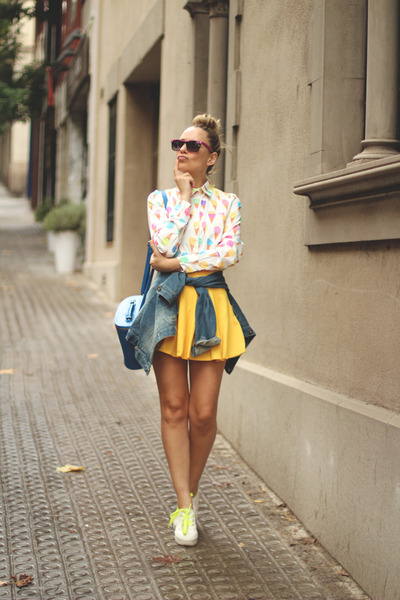 Sheinside shirt - Rocket Dog shoes - vintage jacket - Lefties bag - Ebay skirt