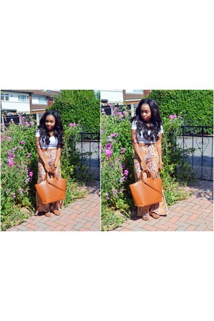 carrot orange floral Topshop pants - tawny Zara bag - tawny H&M sandals