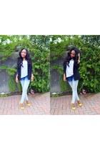 blue dip dye Zara jeans - black H&M blazer - white H&M t-shirt