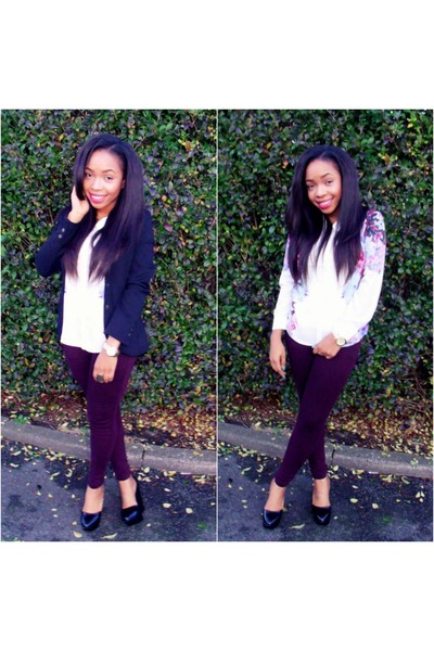 crimson H&M jeans - black Zara shoes - black H&M blazer