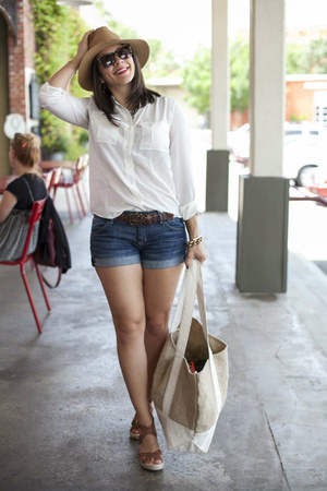 J Crew blouse - jean shorts hudson jeans shorts - Karen Walker sunglasses