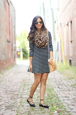 leopard print H&M scarf - lace-up Zara shoes - Target dress